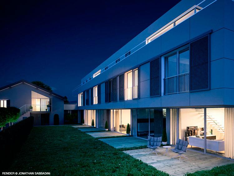 Render 3D notturno esterno architettura