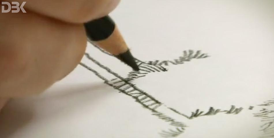 disegno a mano illustrazione a matita per spot tv