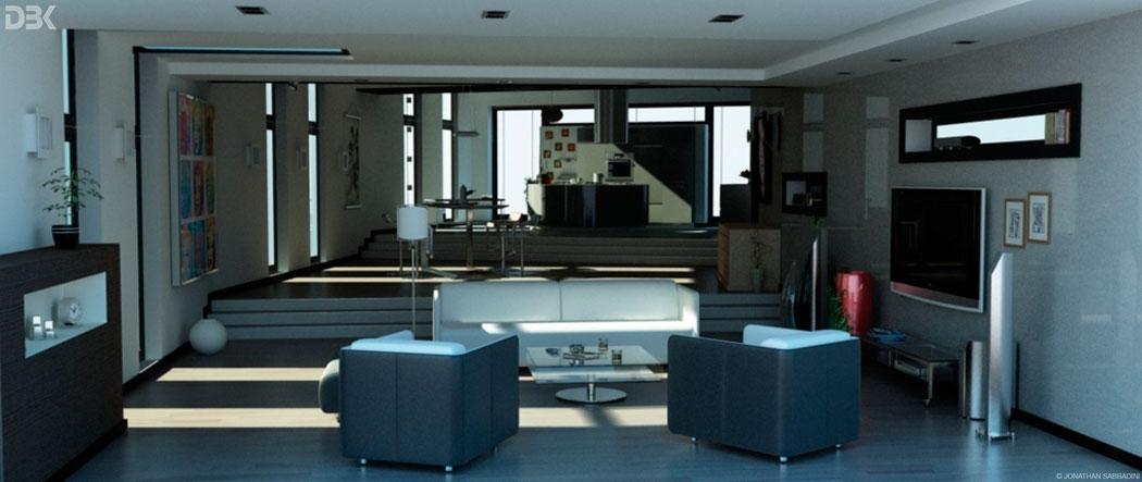 rendering appartamento fotorealistico per spot tv Ticino