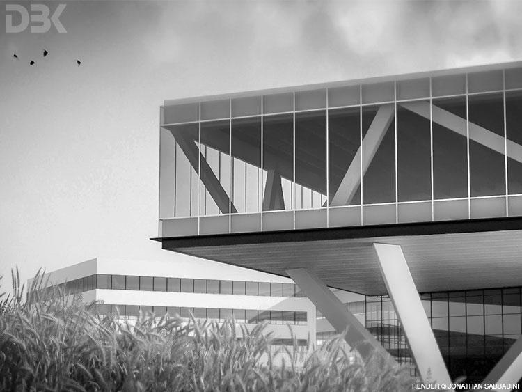 architettura moderna industriale - render Jonathan Sabbadini