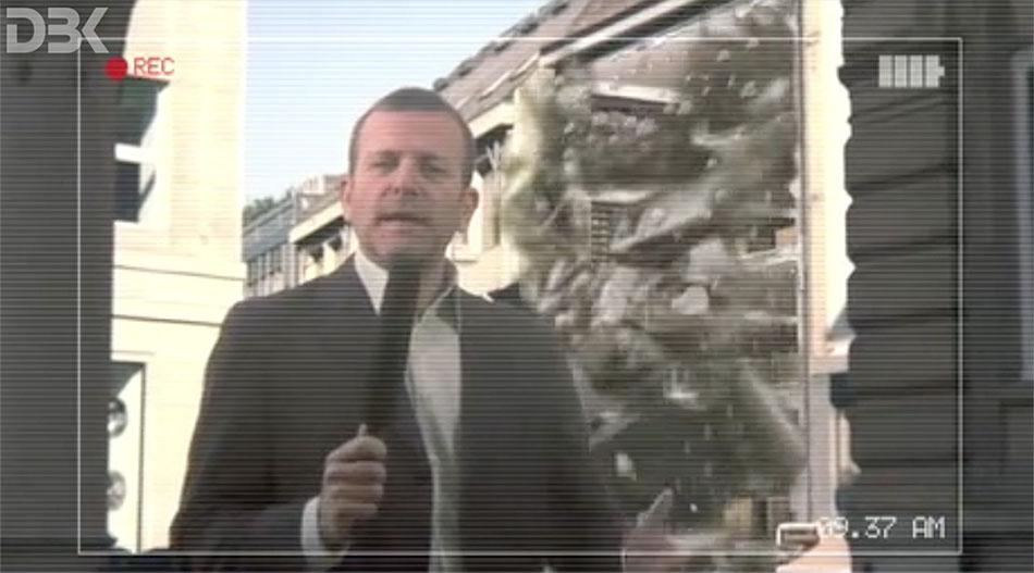 rendering del crollo dell'edificio Monn per spot video