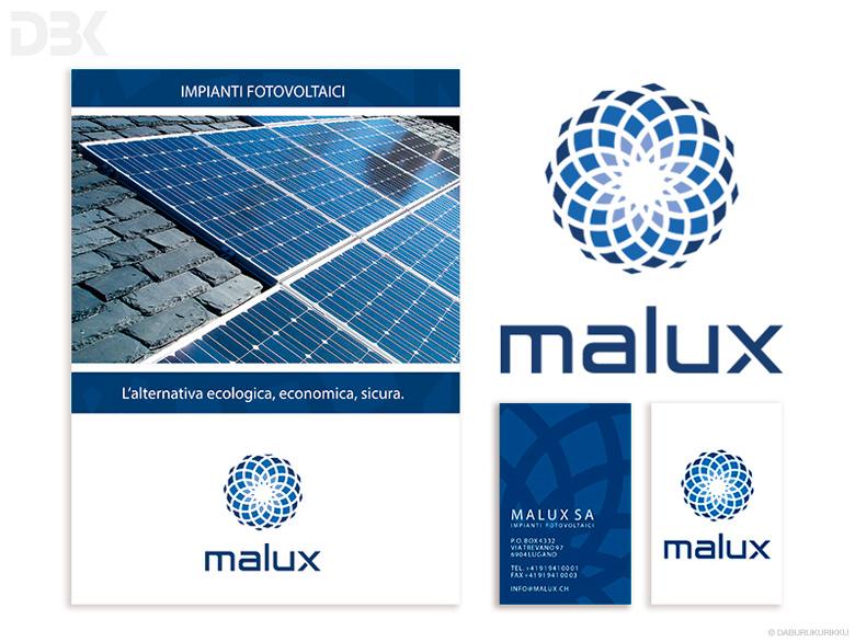 marchio logo immagine coordinata malux impianti fotovoltaici Ticino
